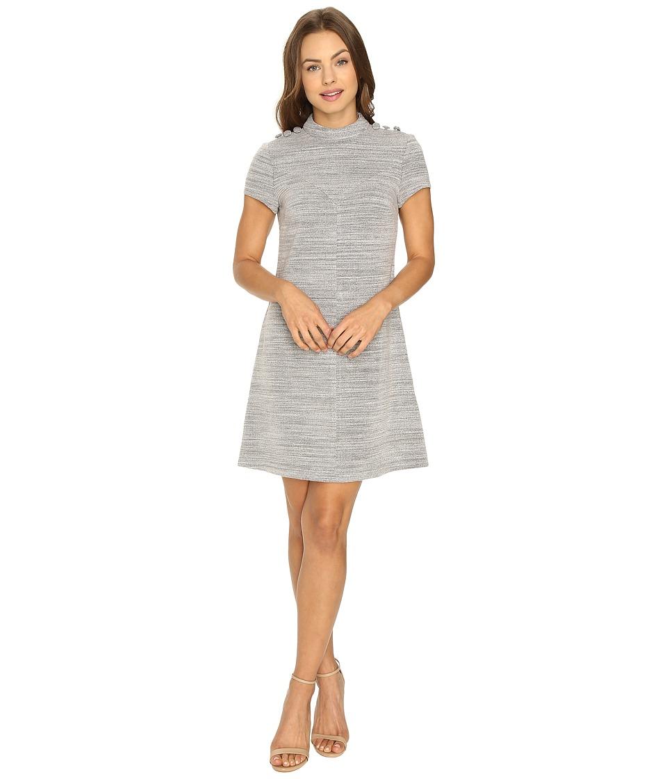 Donna Morgan Knit High Neck Dress w/ Button (Grey Heath) Women