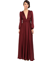 JILL JILL STUART - Matte Charmuese Gown with Long Sleeves and Deep V
