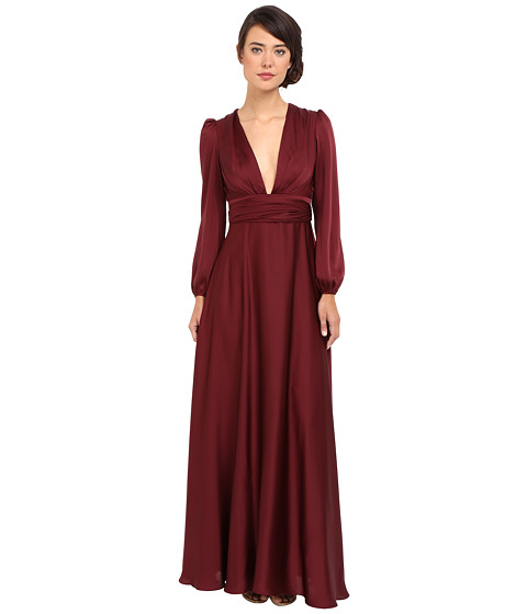 JILL JILL STUART Matte Charmuese Gown with Long Sleeves and Deep V