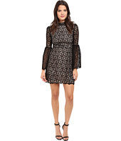 JILL JILL STUART - Venice Lace Short Dress with High Neck and Long Sleeves