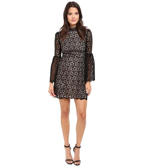 JILL JILL STUART Venice Lace Short Dress with High Neck and Long Sleeves