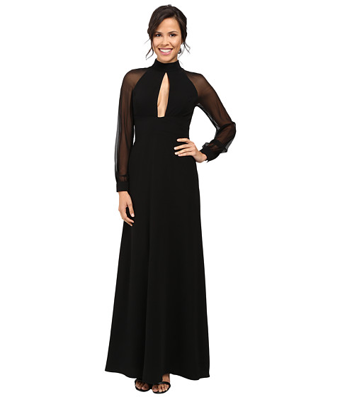 JILL JILL STUART Crepe/Chiffon Gown with Long Sleeves and Keyhole