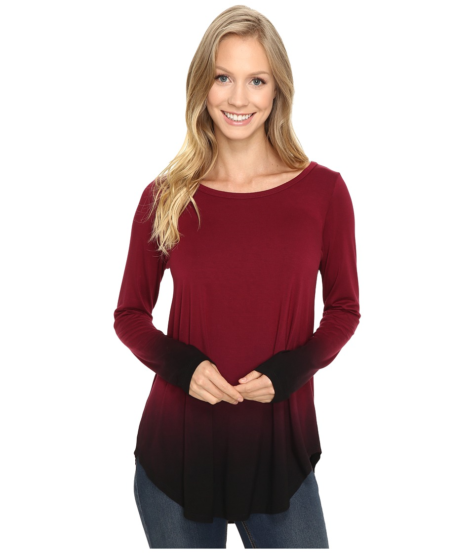 Karen Kane - Long Sleeve Ombre Dye Tee (Wine) Women