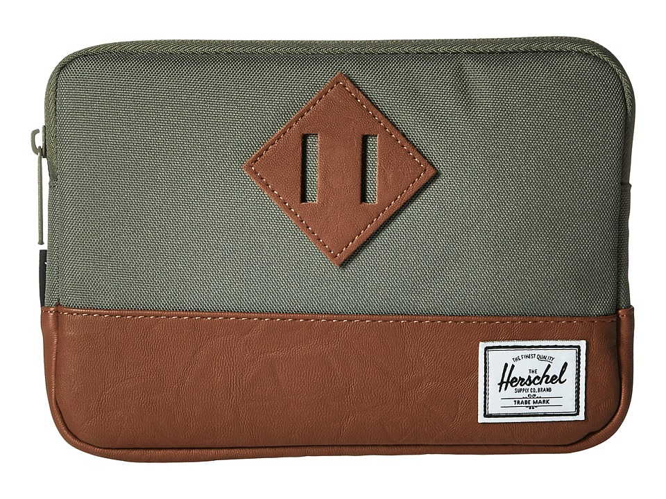 Herschel Supply Co. Heritage Sleeve For iPad Mini (Deep Lichen Green/Tan Synthetic Leather) Computer Bags