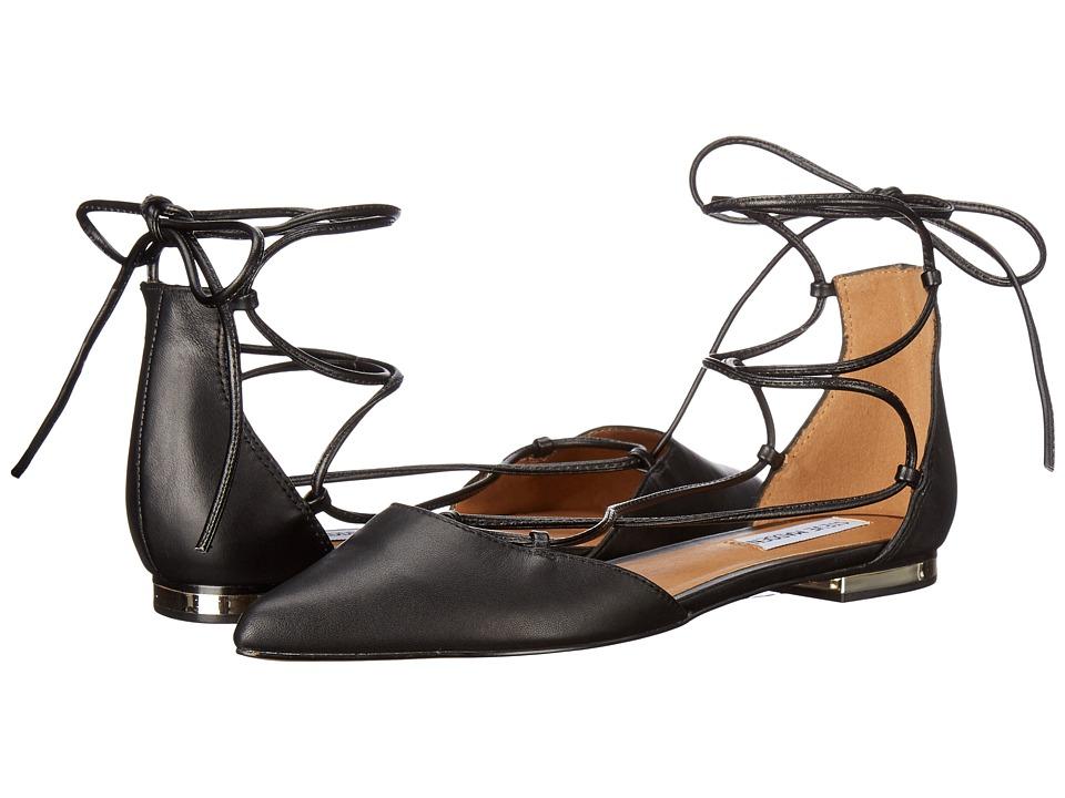 Steve Madden - Sunshine (Black Leather) Womens Flat Shoes