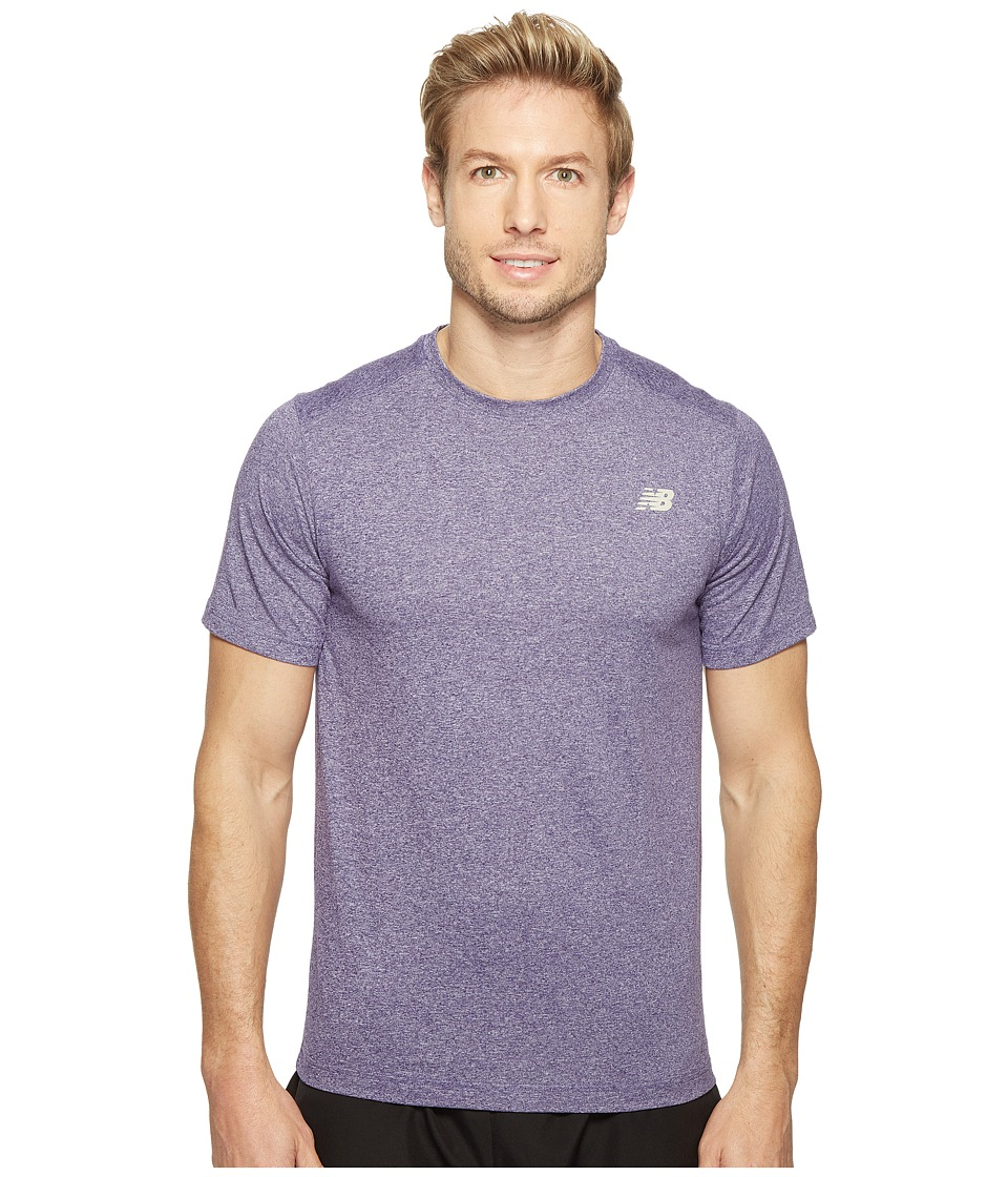 New Balance Short Sleeve Heather Tech Tee (Black Plum Heather) Men
