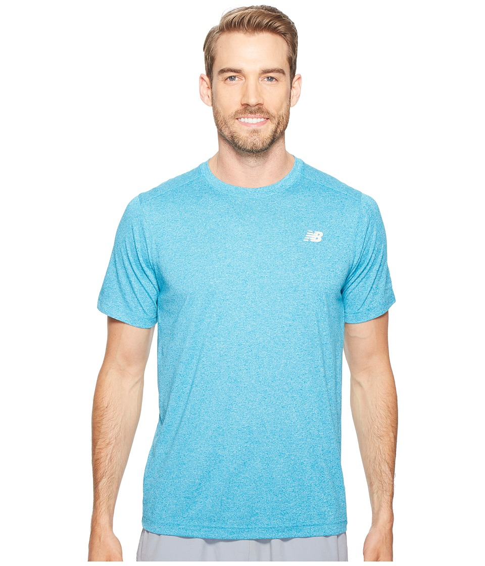 New Balance Short Sleeve Heather Tech Tee (Deep Ozone Blue Heather) Men