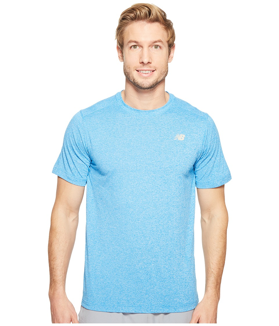 New Balance Short Sleeve Heather Tech Tee (Electric Blue Heather) Men