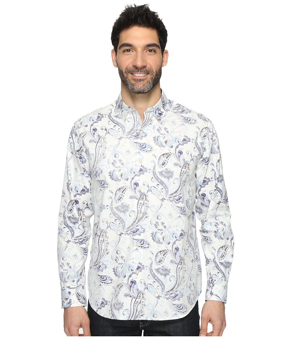 Tommy Bahama - Paulo Paisley Long Sleeve Woven Shirt (Polar Sky) Mens Long Sleeve Button Up