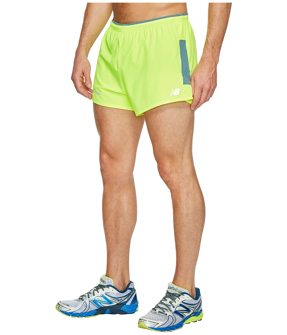New Balance Impact 3 Split Shorts (Hi-Lite/Storm Blue) Men