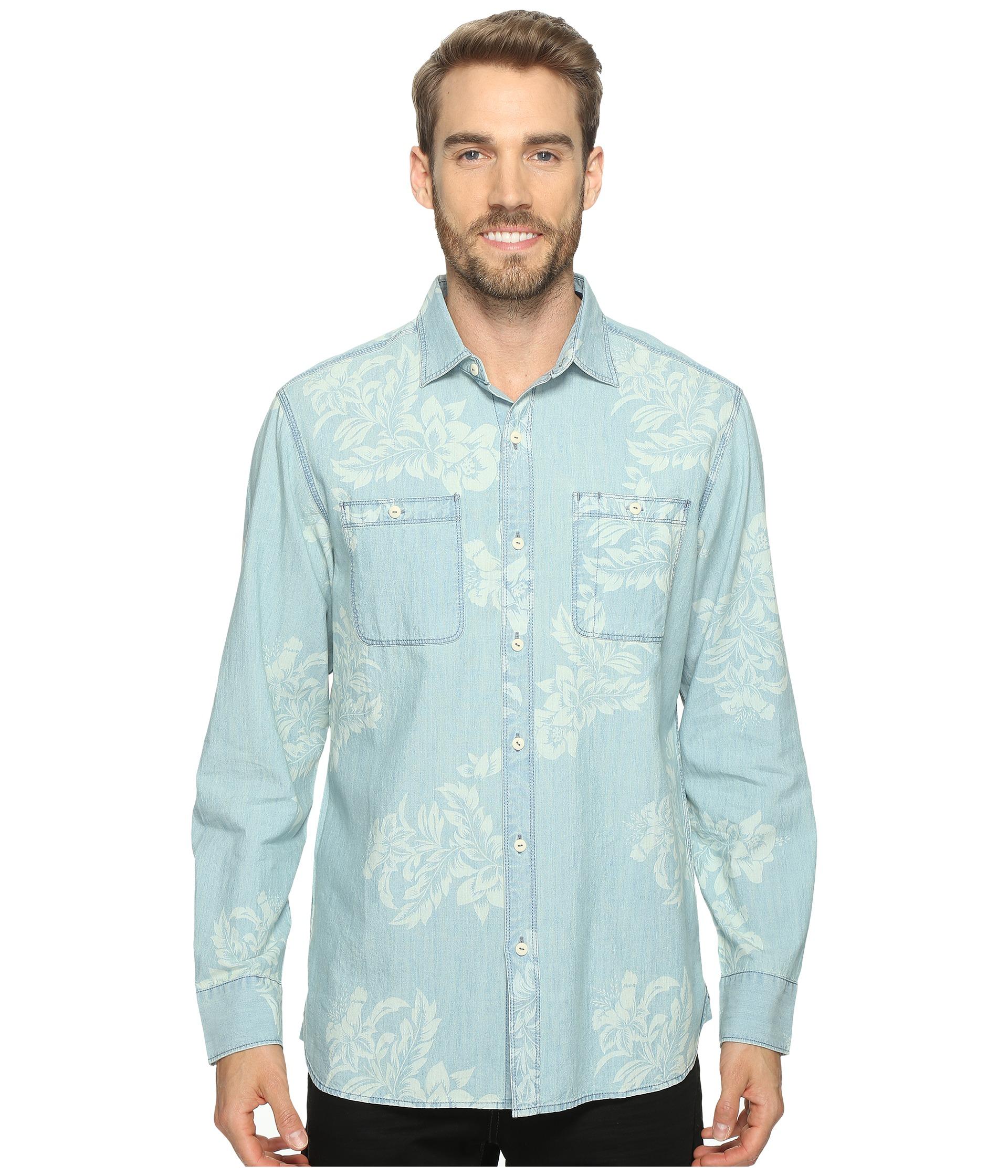 Tommy bahama selaron chambray long sleeve woven shirt for Tommy bahama long sleeve dress shirts