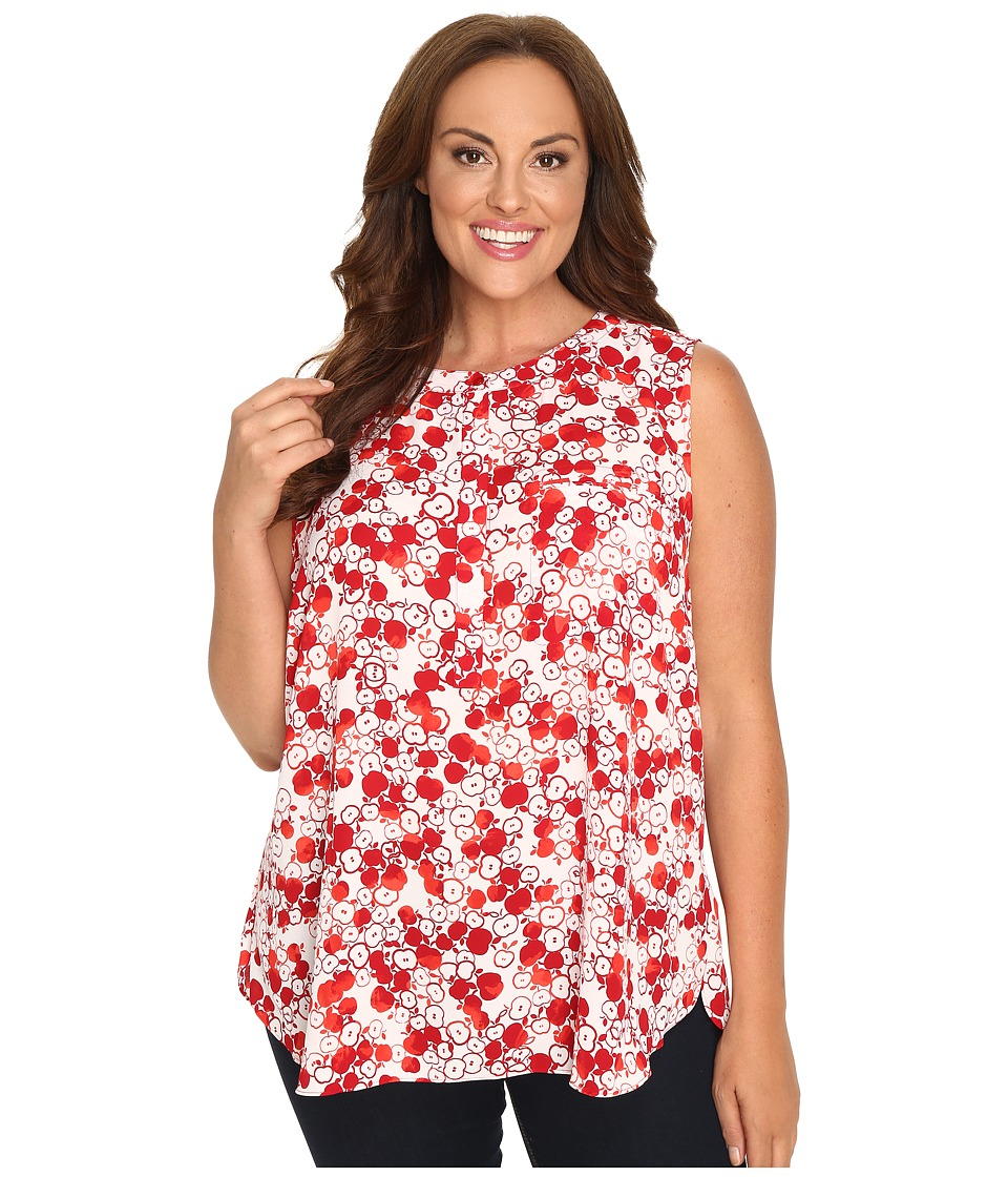 NYDJ Plus Size - Plus Size Key Item Sleeveless Sleeve Pleat Back Blouse (Apples Red) Women's Blouse plus size,  plus size fashion plus size appare