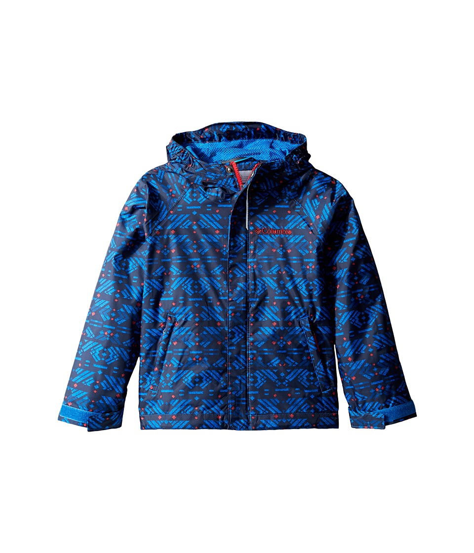 Columbia Kids Fast Curious Rain Jacket (Little Kids/Big Kids) (Super Blue Print/Mountain Red) Boy
