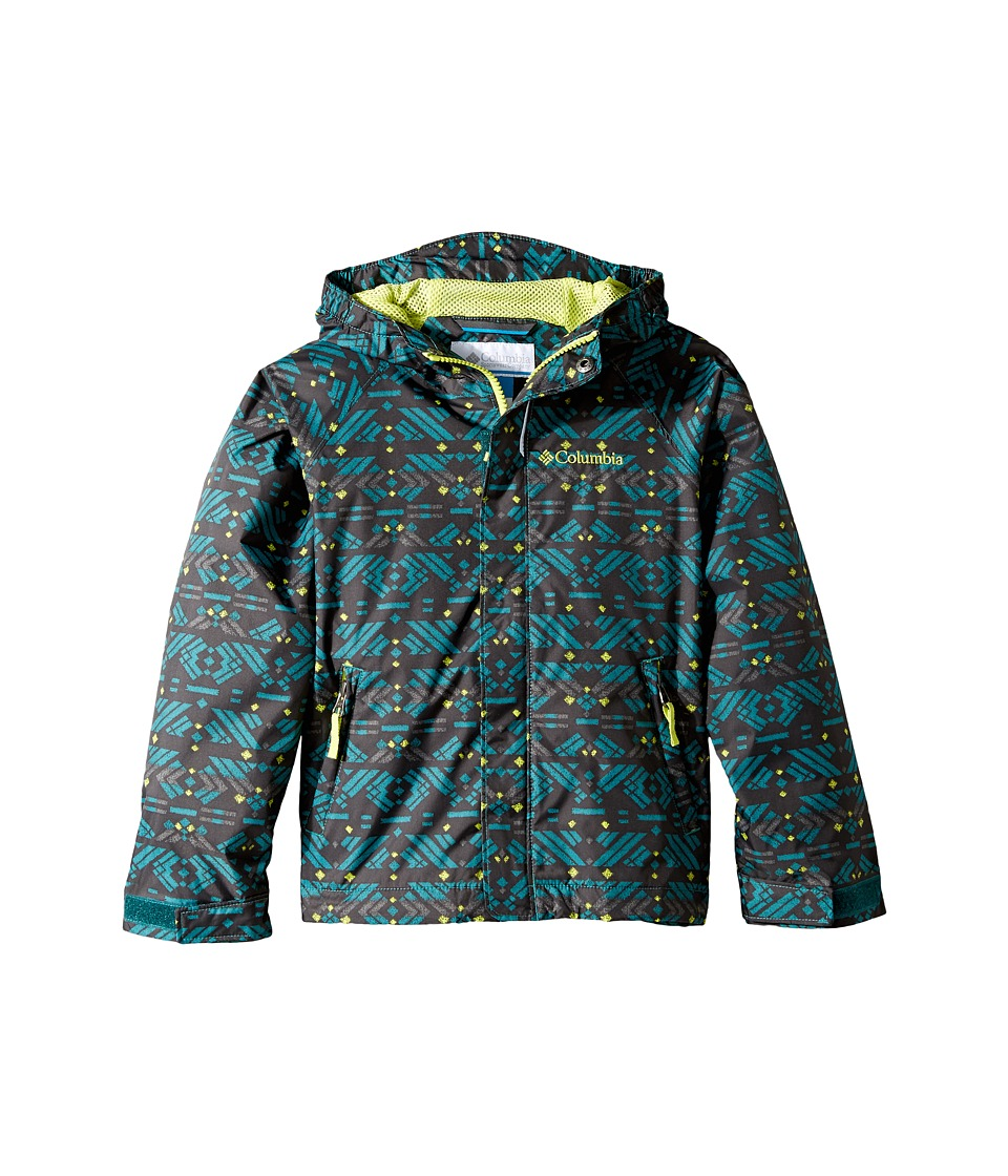 Columbia Kids Fast Curious Rain Jacket (Little Kids/Big Kids) (Waterfall Print/Voltage) Boy