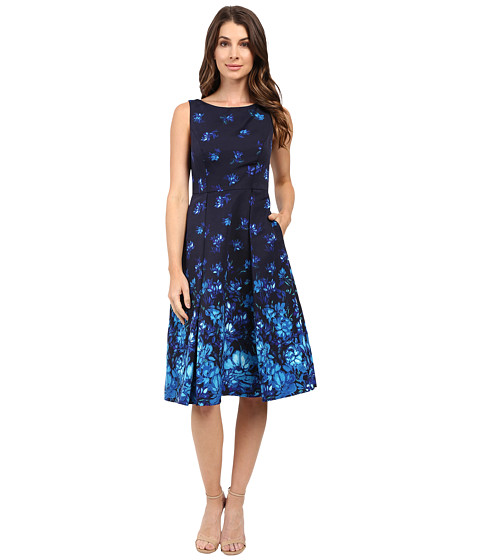 Adrianna Papell Pleated Faille Fit and Flare