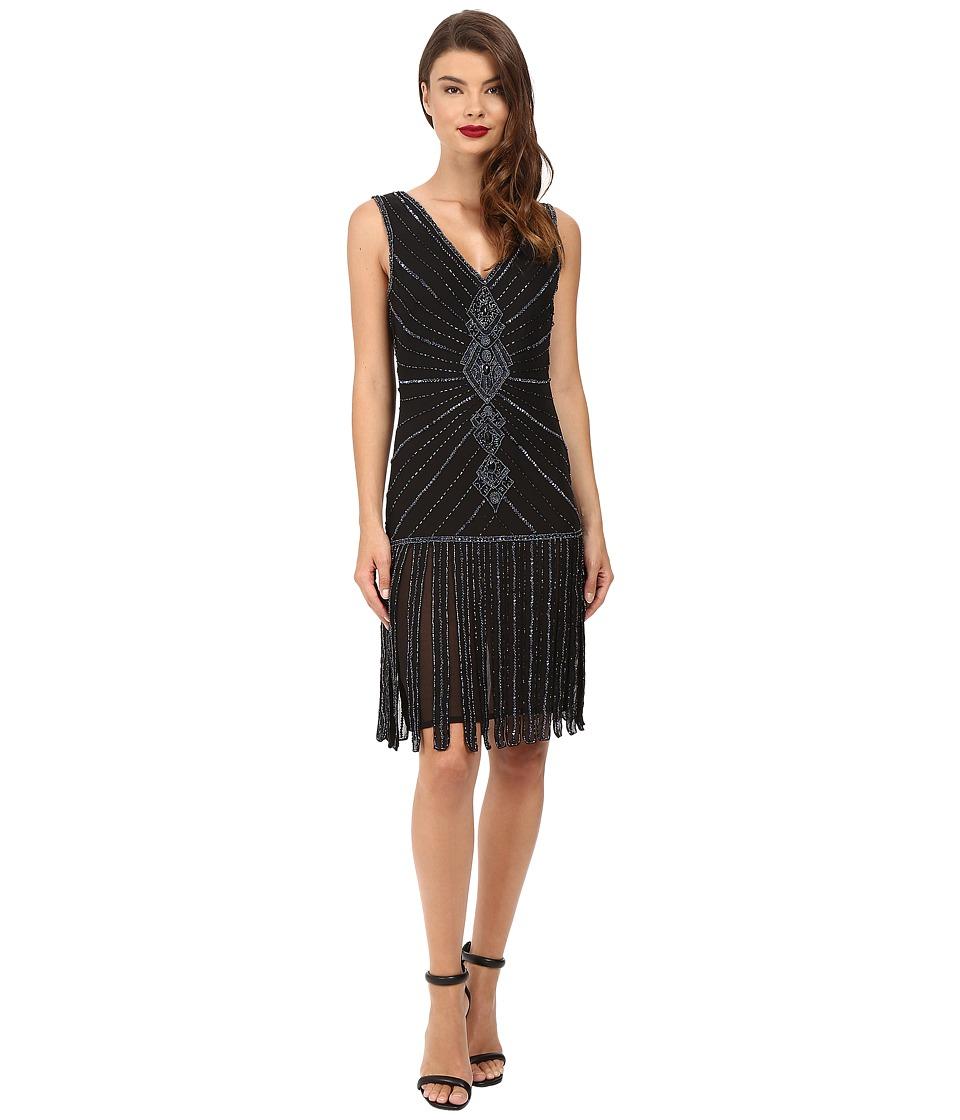 Unique Vintage Deco Beaded Aelita Flapper Dress (Black) Women