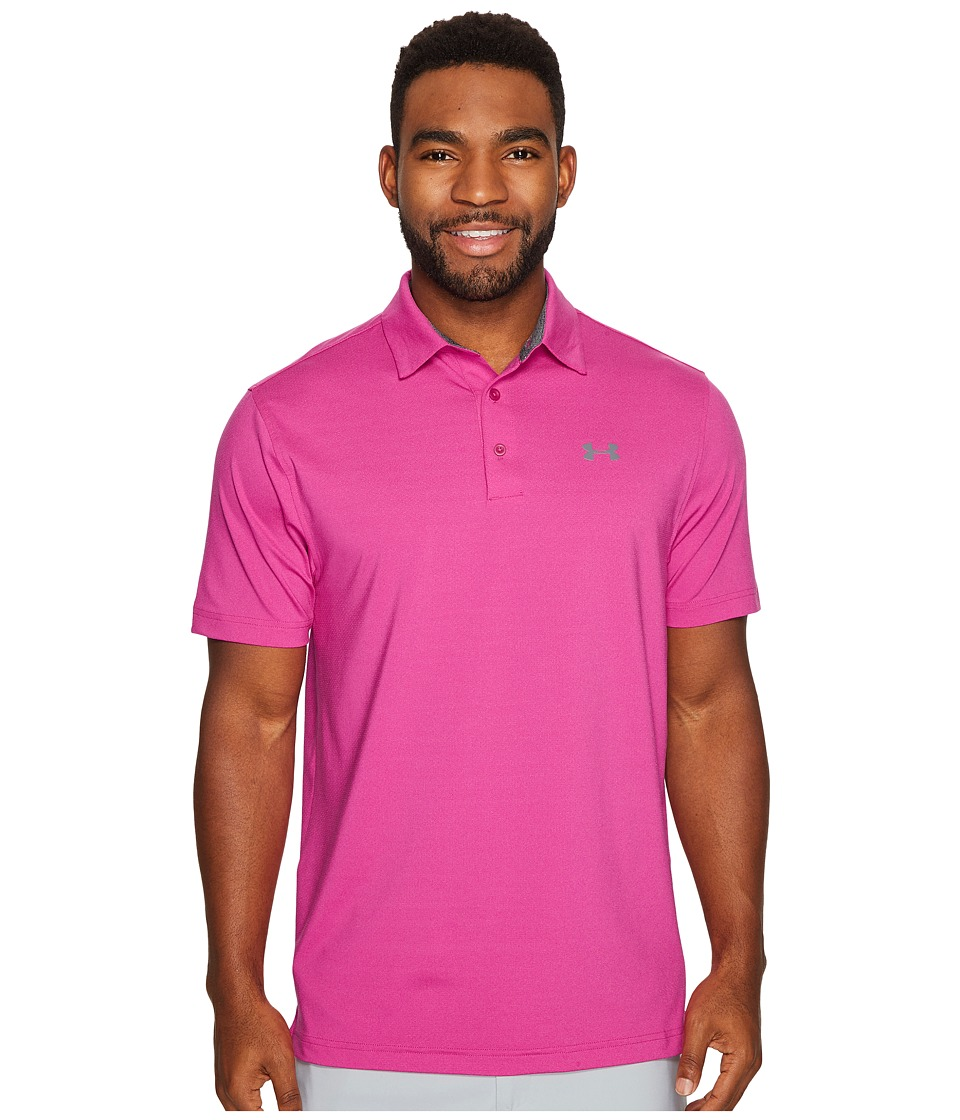 Under Armour Golf - Playoff Polo Vented (Tropic Pink/Graphite) Mens Clothing