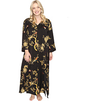 N by Natori - Plus Size Blissful Forest Satin Zip Caftan