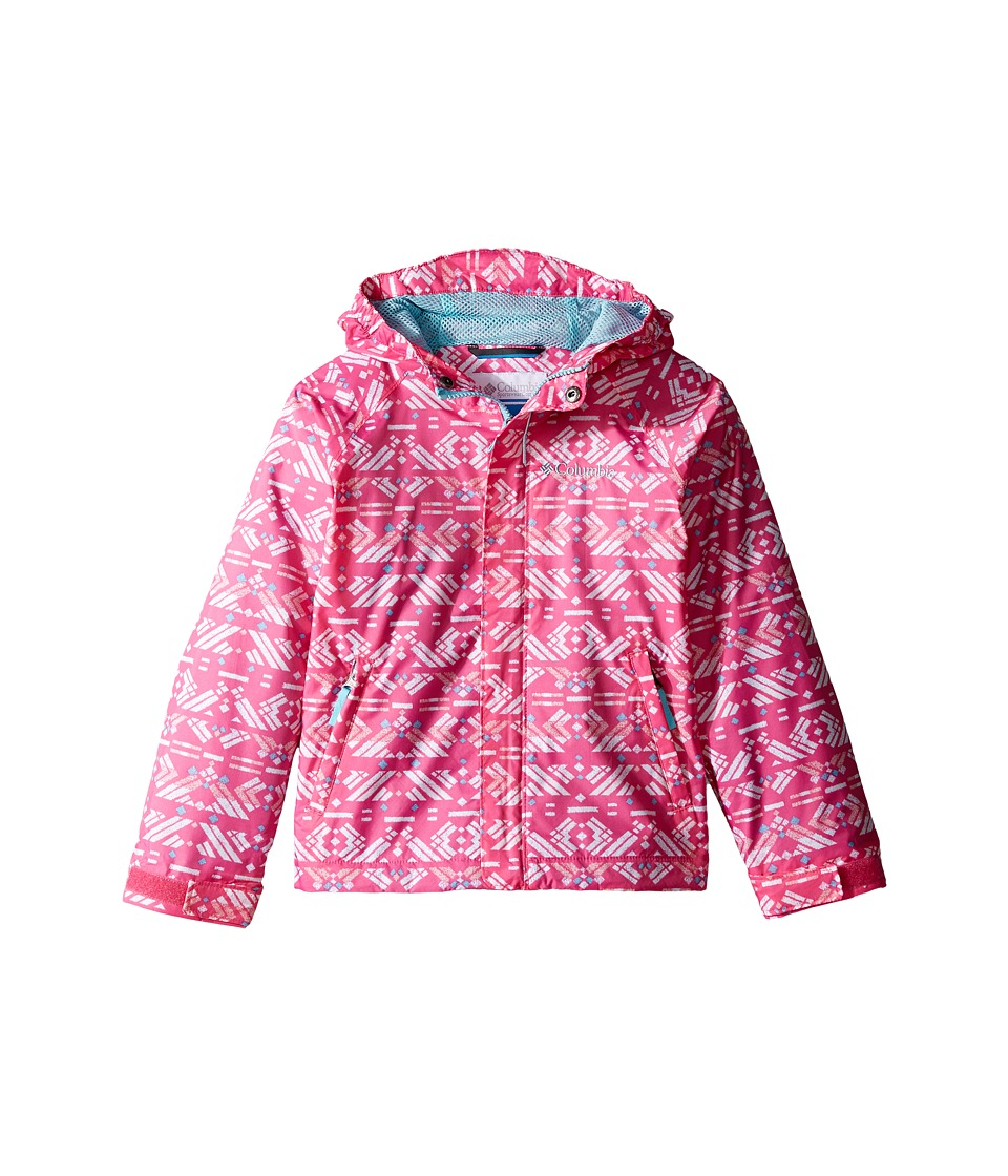 Columbia Kids Fast Curious Rain Jacket (Little Kids/Big Kids) (Wild Geranium Print/Clear Blue) Girl