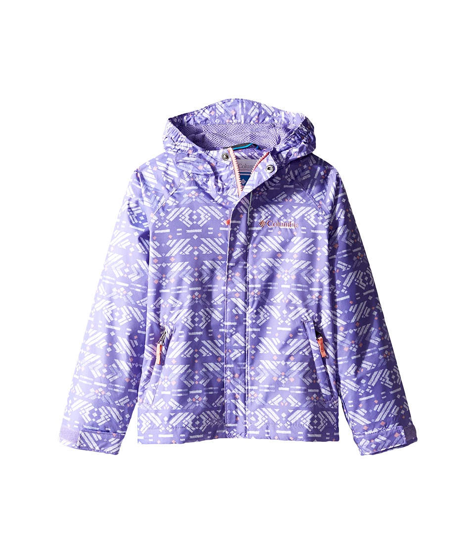 Columbia Kids Fast Curious Rain Jacket (Little Kids/Big Kids) (Paisley Purple Print/Sorbet) Girl
