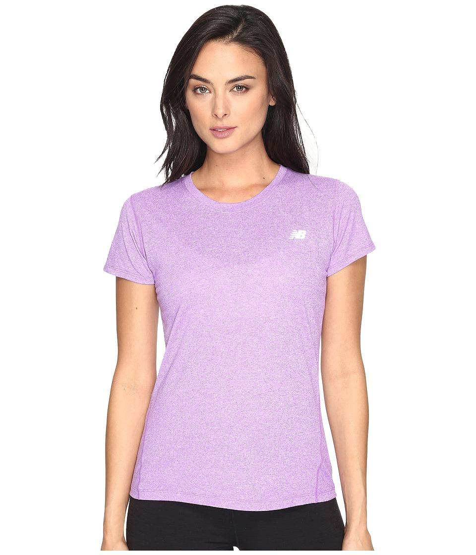 New Balance Heathered Short Sleeve Tee (Alpha Violet Heather) Women