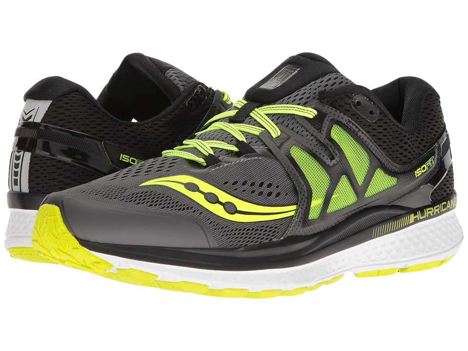 Saucony - Hurricane ISO 3 (Grey/Black/Citron) Mens Shoes