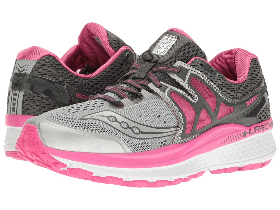 Saucony Hurricane ISO 3 (Grey/Pink/White) Women's Shoes