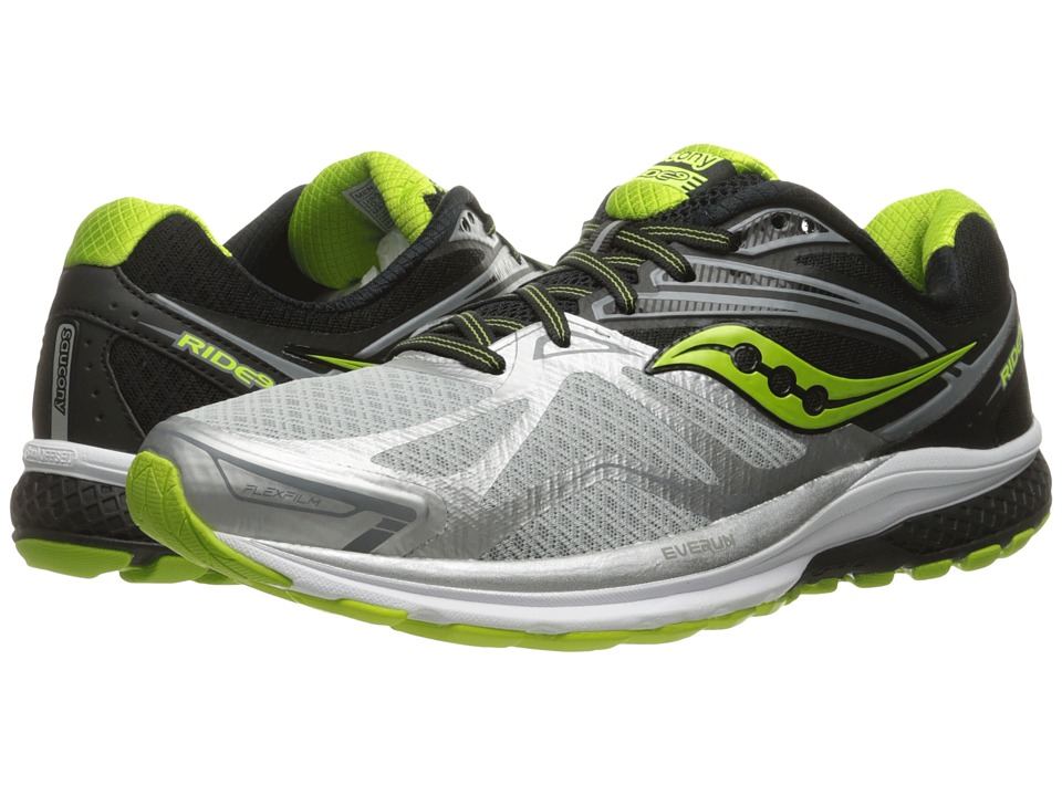 Saucony - Ride 9 (Silver/Black/Lime) Mens Running Shoes