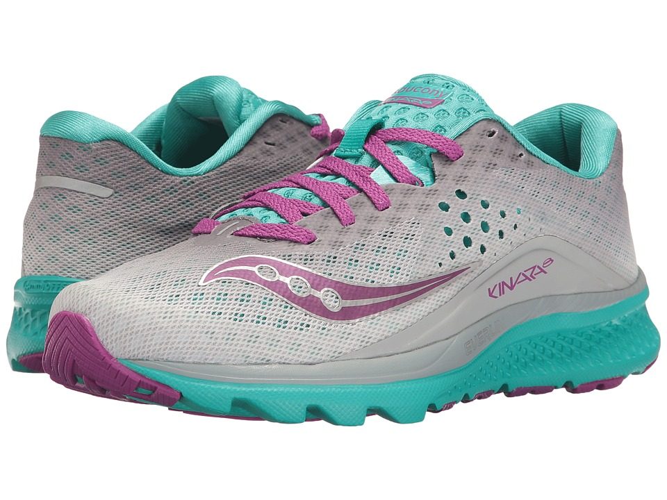 Saucony Kinvara 8 (Grey/Teal/Purple) Women's Shoes