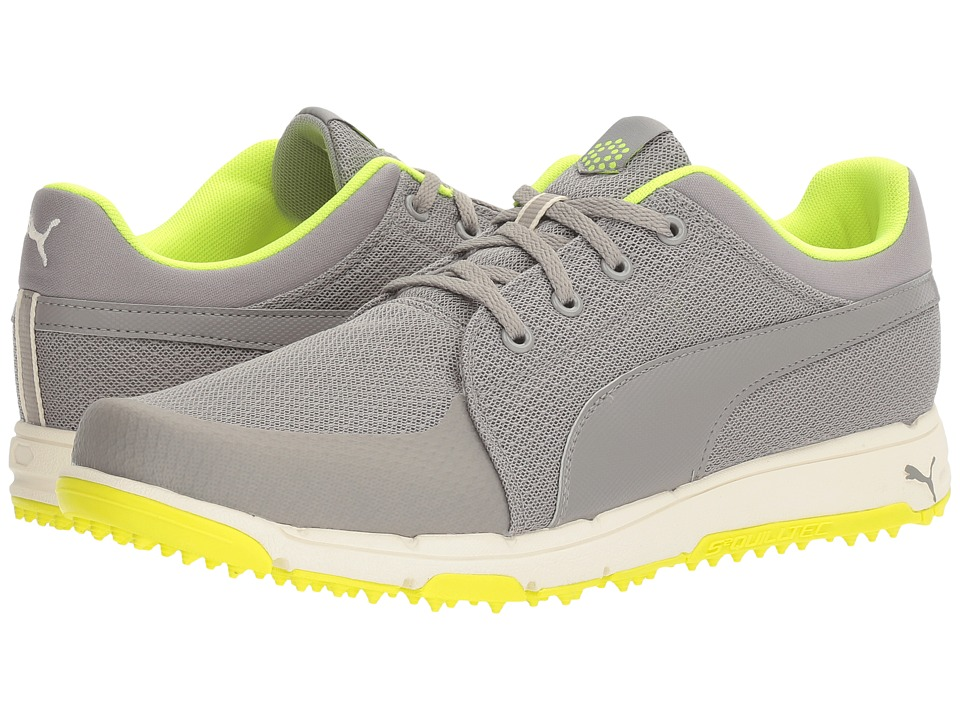 PUMA Golf - Grip Sport (Drizzle/Safety Yellow) Mens Golf Shoes