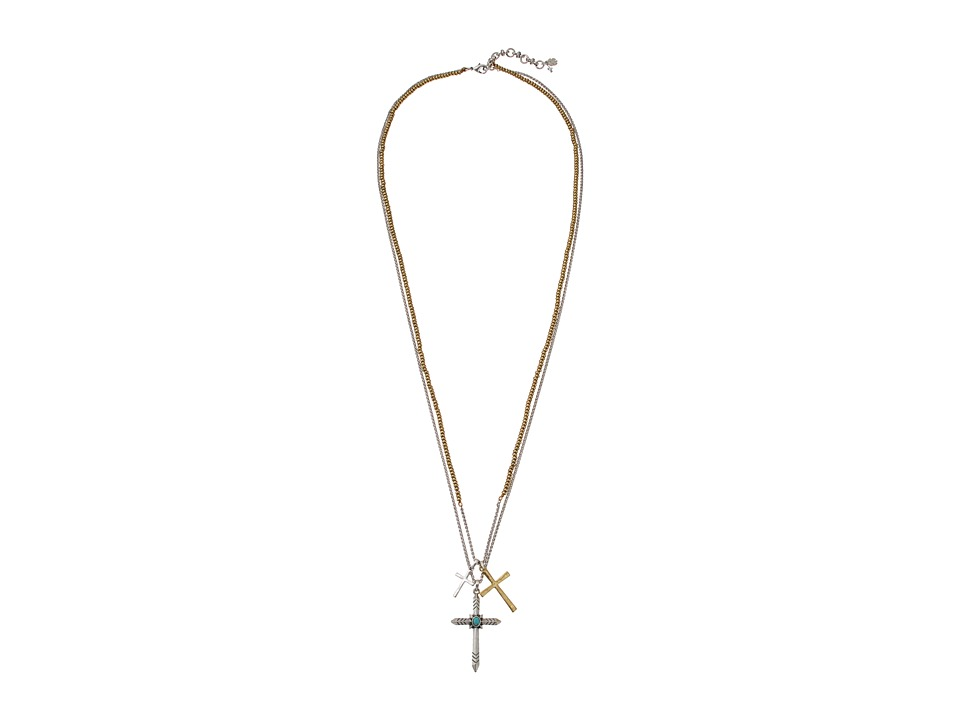 Lucky Brand - Cross Charm Necklace (Two-Tone) Necklace