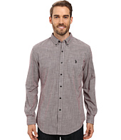 U.S. POLO ASSN. - Long Sleeve Classic Fit Hound's-Tooth Button Down Woven Shirt