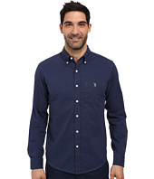 U.S. POLO ASSN. - Slim Fit Brushed Twill Button Down Collar Solid Woven Shirt