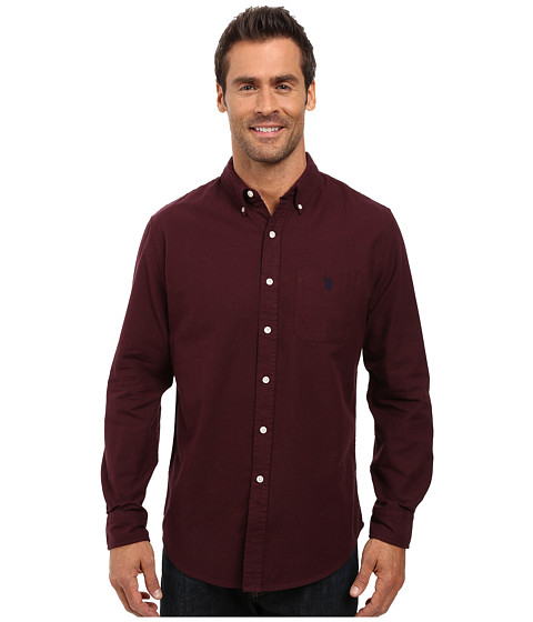 U.S. POLO ASSN. Long Sleeve Solid Oxford Cloth Button Down Woven Shirt