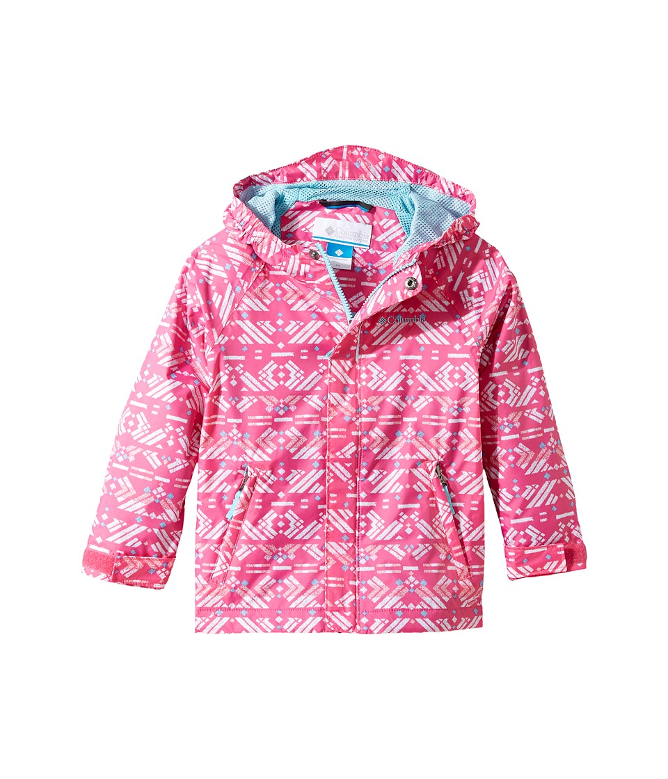 Columbia Kids Fast Curious Rain Jacket (Toddler) (Wild Geranium Print/Clear Blue) Girl