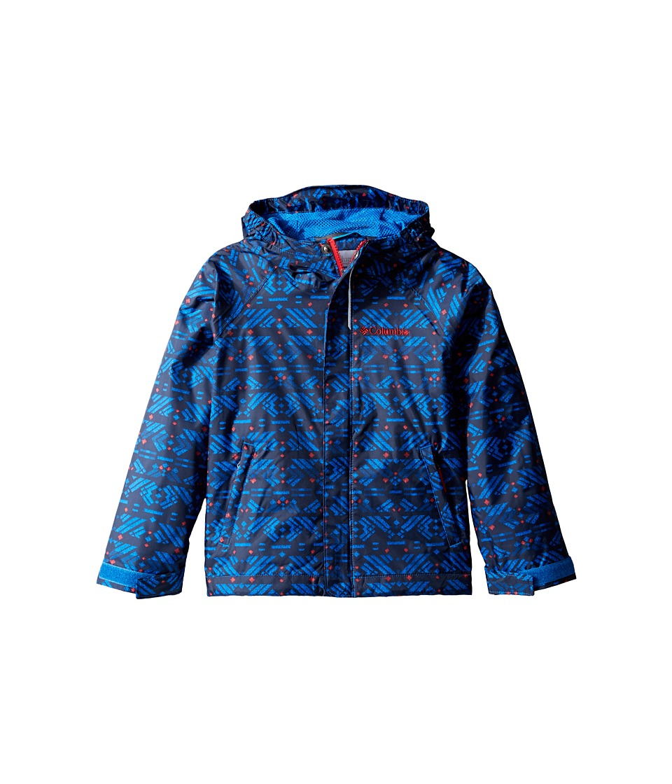 Columbia Kids Fast Curious Rain Jacket (Toddler) (Super Blue Print/Mountain Red) Boy
