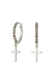 Lucky Brand - Cross Silver Dangle Hoop Earrings