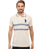 U.S. POLO ASSN. - Quilted Pique and Chambray Striped Polo Shirt