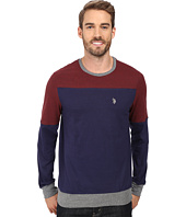 U.S. POLO ASSN. - Long Sleeve Color Block Crew Neck Knit Shirt