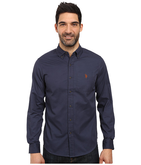 U.S. POLO ASSN. Long Sleeve Slim Fit Brushed Twill Sport Shirt
