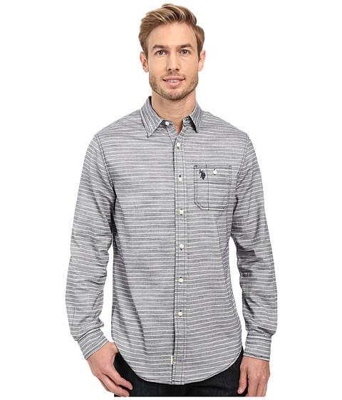 U.S. POLO ASSN. Long Sleeve Slim Fit Straight Point Collar Horizontal Stripe Sub Oxford Cloth Sport Shirt