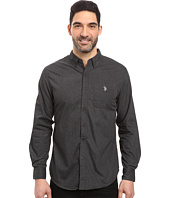 U.S. POLO ASSN. - Long Sleeve Solid Cotton Poplin Heathered Sport Shirt