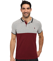 U.S. POLO ASSN. - Short Sleeve Slim Fit Color Blocked Pique Polo Shirt