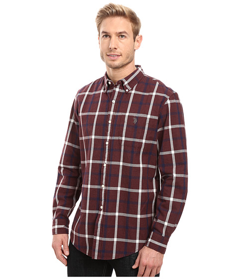 U s polo assn long sleeve oxford cloth plaid button down for Button up collared sport shirts