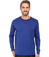 U.S. POLO ASSN. - Long Sleeve V-Inset Crew Neck Knit Shirt