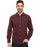 U.S. POLO ASSN. - Long Sleeve Slim Fit Brushed Heather Stripe Twill Straight Point Collar Sport Shirt