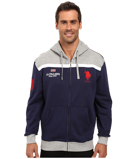 U.S. POLO ASSN. Color Block Fleece Hooded Jacket