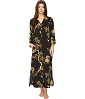 N by Natori - Blissful Forest Satin Zip Caftan