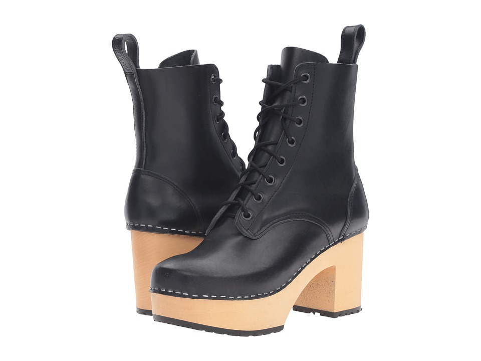Swedish Hasbeens Lace-Up Boot (Black) Women