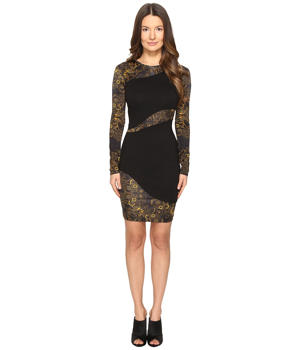 Versace Jeans Long Sleeve Placed Sheer Dress (Nero) Women